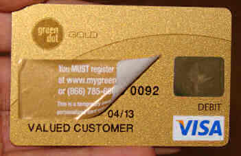 the card number is under the peel off label unlike conventional credit cards - Green Dot Visa Debit Card