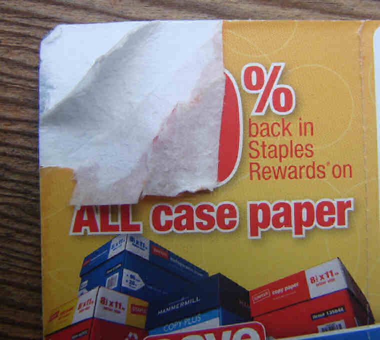 this latest staples reward coupon is made of honest to goodness paper